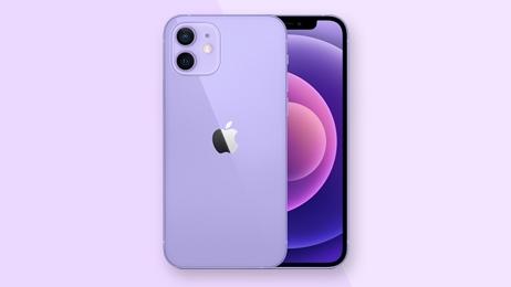 ตัวอย่างมือถือ iPhone 12 สีม่วง